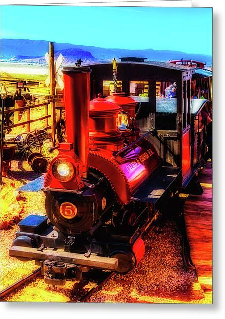 Moody Red Train Greeting Card