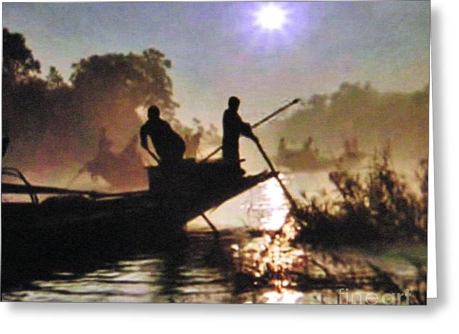 Moody River Silhouettes At Sunset Greeting Card