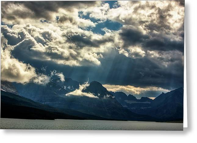 Moody Sunrays Over Glacier National Park Greeting Card