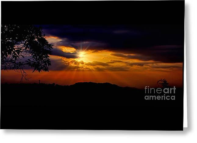 Moody Sunset Silhouette By Kaye Menner Greeting Card by Kaye Menner