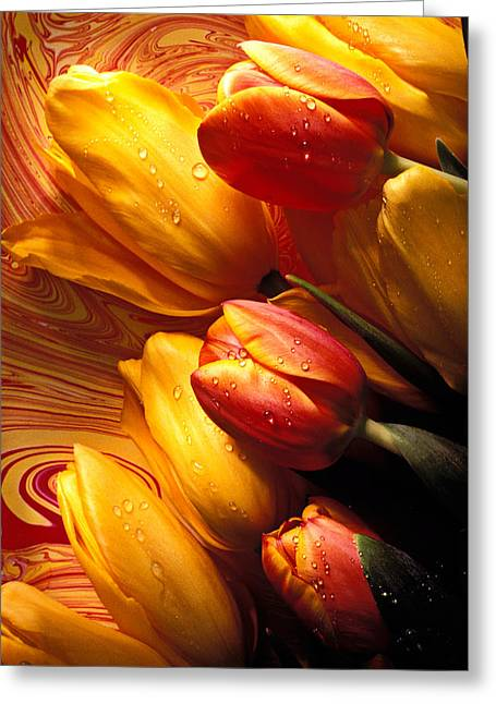 Wet Greeting Cards - Moody Tulips Greeting Card by Garry Gay