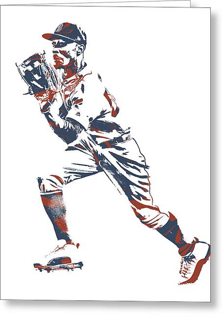 Mookie Betts Boston Red Sox Pixel Art 10 Greeting Card