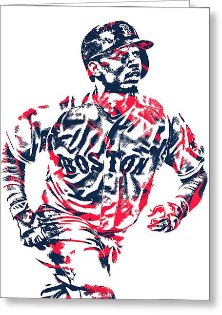Mookie Betts Boston Red Sox Pixel Art 2 Greeting Card