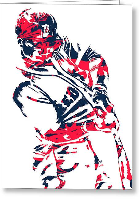 Mookie Betts Boston Red Sox Pixel Art 3 Greeting Card