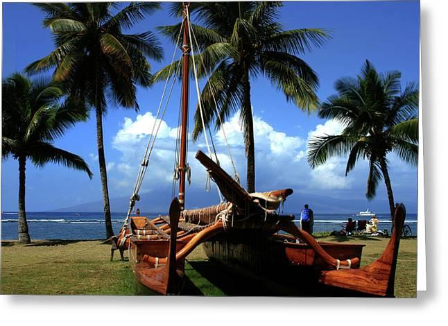 Moolele Canoe At Hui O Waa Kaulua Lahaina Greeting Card by Sharon Mau