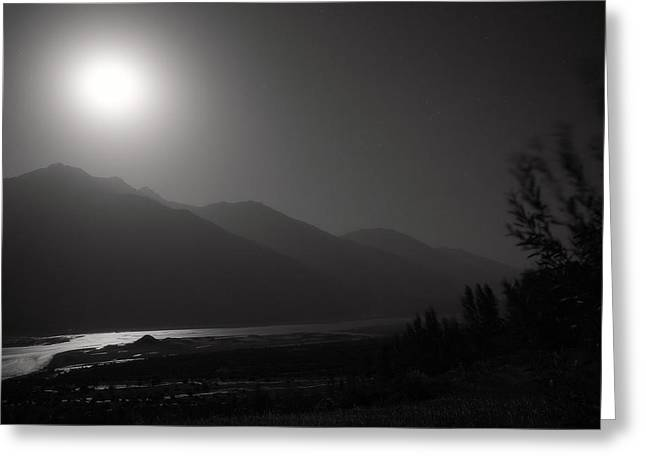 Moon Above Pyandzh Valley Greeting Card