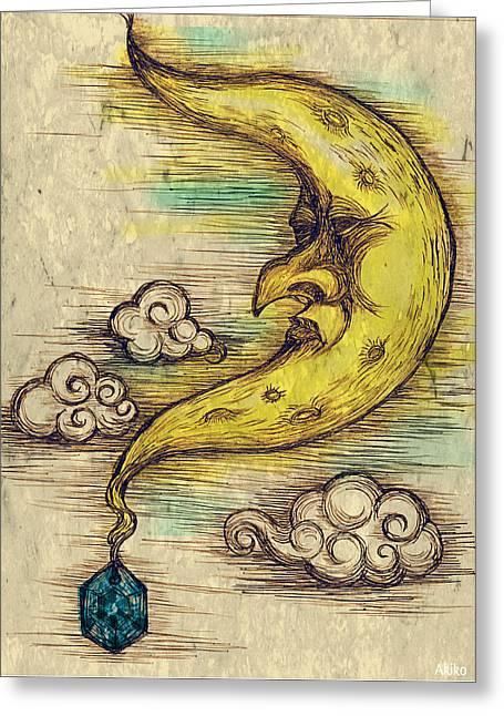 Moon Greeting Card by Akiko Okabe