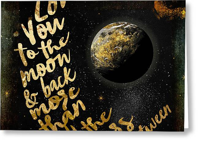 Moon And Back Stars Night Greeting Card by Mindy Sommers
