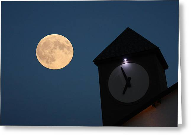 Moon And Clock Tower Greeting Card
