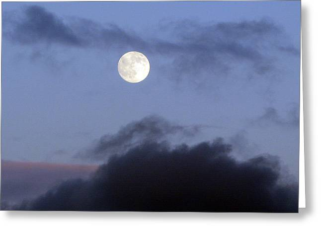 Moon And Clouds Greeting Card by Richard Singleton
