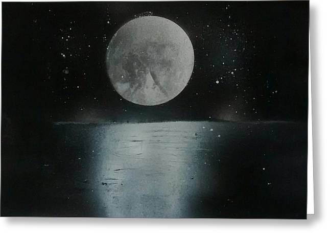 Moon And Its Reflection Greeting Card by Prashant Soni