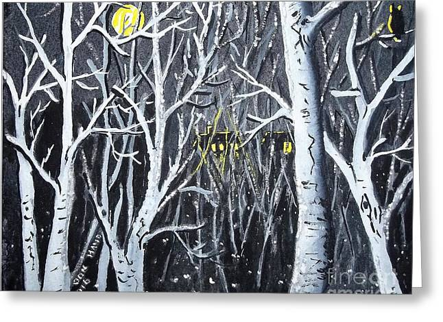 Moon And Lightning Bugs Greeting Card