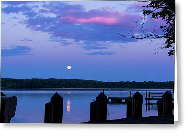 Moon And Pier Greeting Card