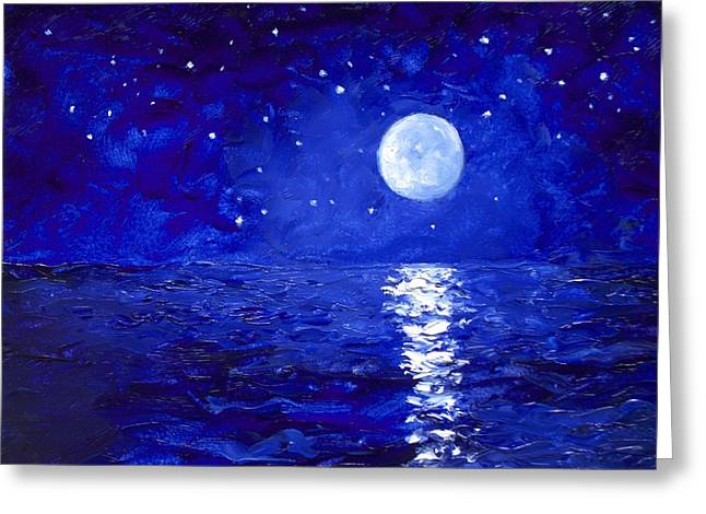 Moon And Stars Painting Greeting Card by Jan Matson