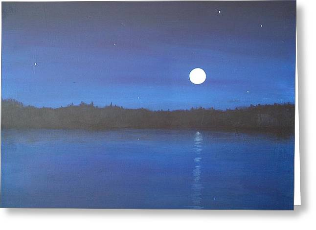 Moon And Stars Reflected Greeting Card by Denise   Hoff