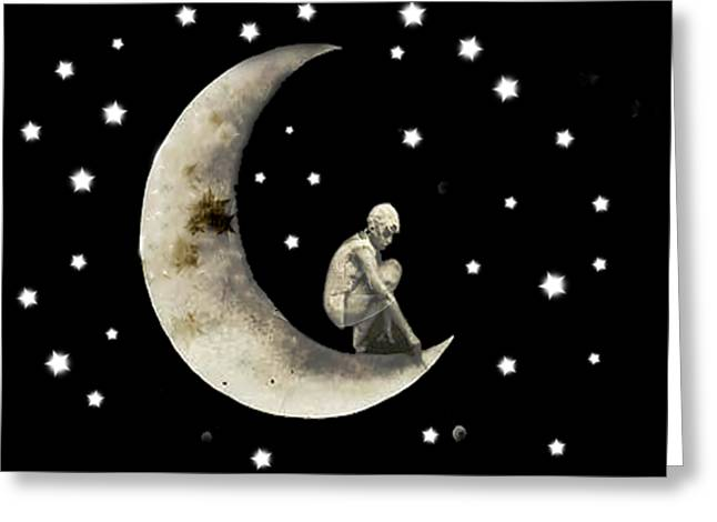 Moon And Stars T Shirt Design Greeting Card