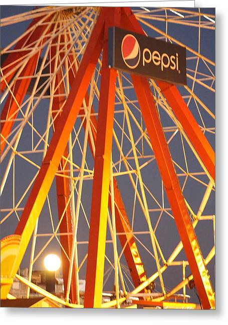 Moon And The Ferris Wheel Greeting Card
