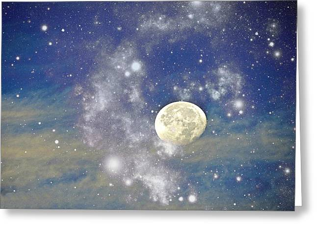 Moon And The Stars Greeting Card