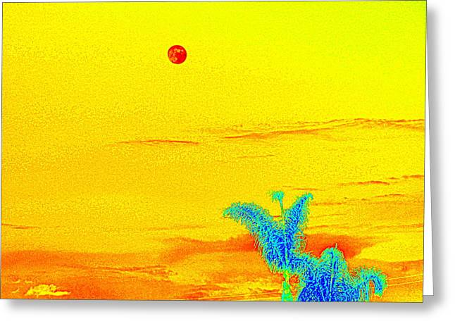 Moon And Two Palms Greeting Card