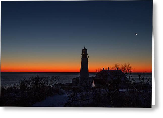 Moon And Venus - Headlight Sunrise Greeting Card