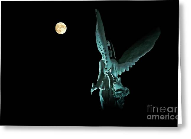 Greeting Card featuring the photograph Super Moon And Winged Goddess Of Victory by Charline Xia
