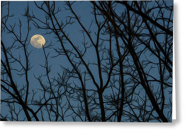 Moon At Dusk Through Trees - Impressionism Greeting Card