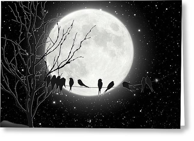 Moon Bath, Birds On A Wire Gather By A Harvest Moon Greeting Card