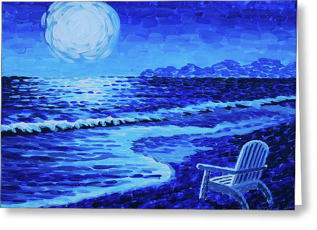 Sea Moon Full Moon Greeting Cards - Moon Beach Greeting Card by Tommy Midyette