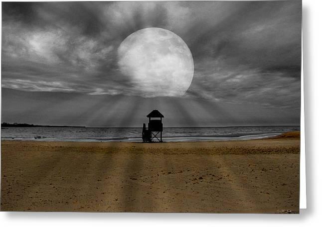 Sandy Beaches Mixed Media Greeting Cards - Moon Beams Greeting Card by Ms Judi