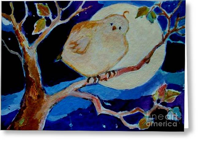 Greeting Card featuring the painting Moon Bird by Diane Ursin