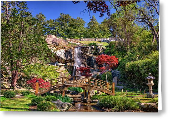 Moon Bridge And Maymont Falls Greeting Card by Rick Berk