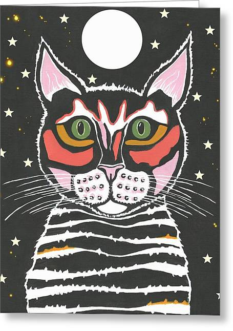 Moon Cat Greeting Card by Kathleen Sartoris