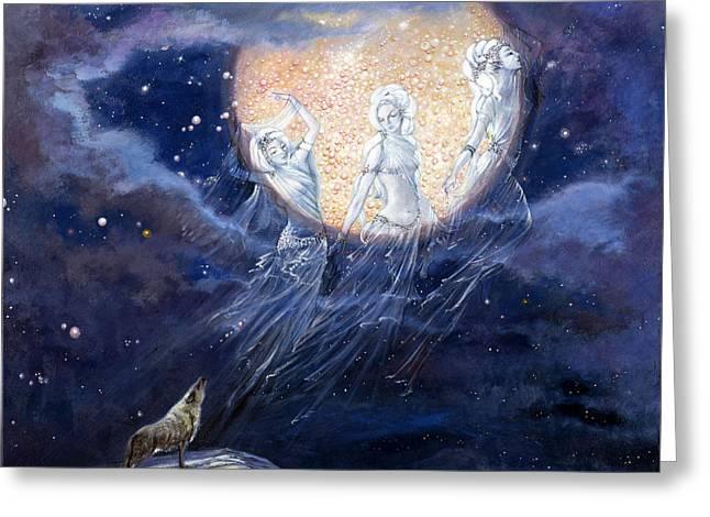Moon Dance Greeting Card by Silvia  Duran