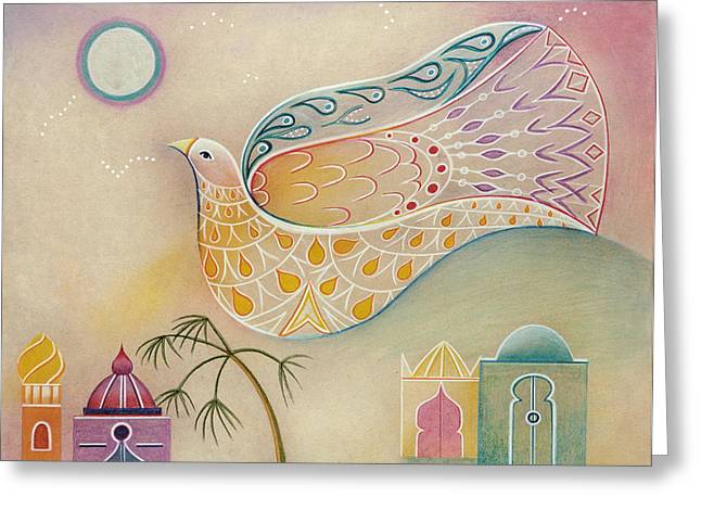 Moon Dove Greeting Card by Sally Appleby