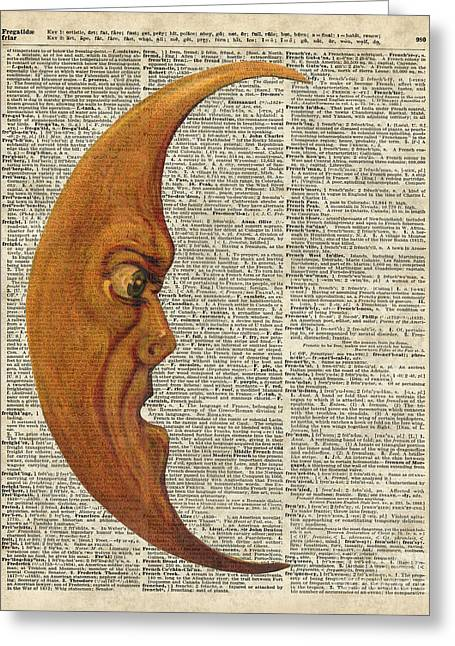 Moon Face Dictionary Art Greeting Card