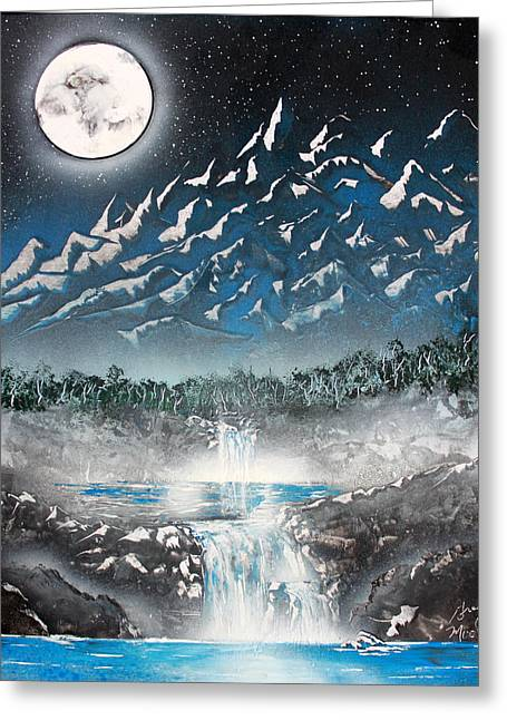 Moon Falls Greeting Card by Greg Moores
