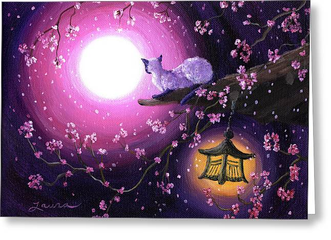 Moon Glow Lantern Glow Greeting Card by Laura Iverson