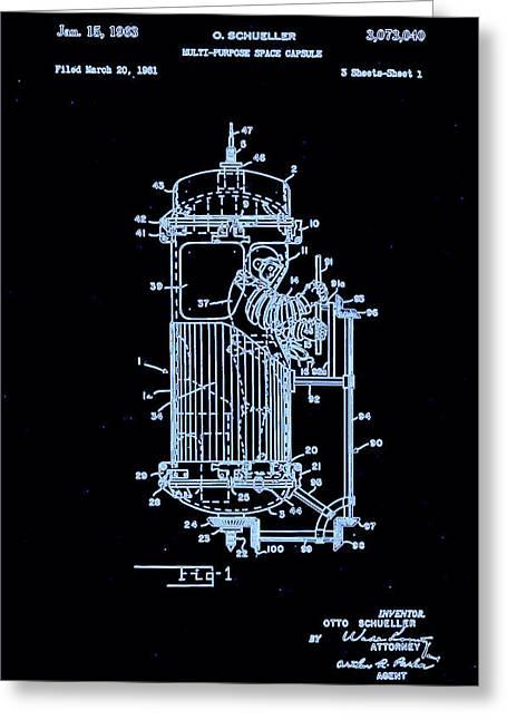 Moon Glow Space Capsule Patent 1  Greeting Card by Arturo Granata