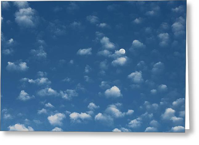 Moon In The Morning Sky Greeting Card