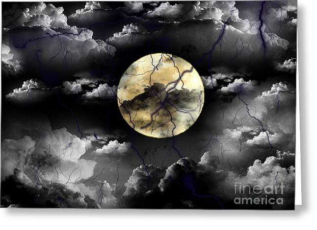 Moon In The Storm Greeting Card