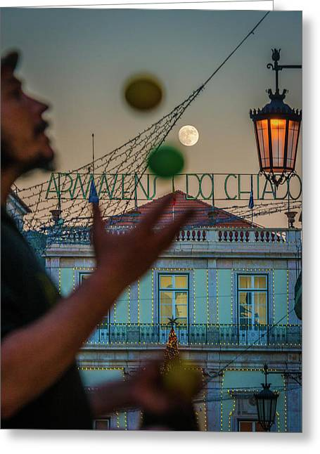 Moon Juggler Greeting Card by Cory Dewald
