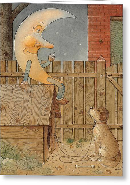 Moon Greeting Card by Kestutis Kasparavicius