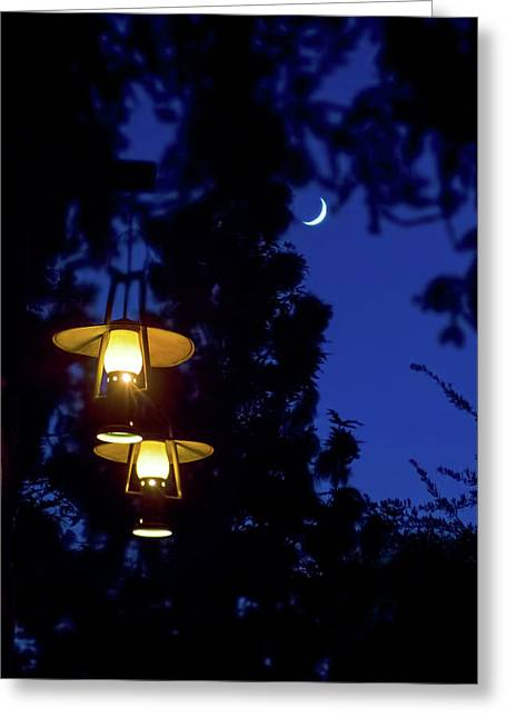 Greeting Card featuring the photograph Moon Lanterns by Mark Andrew Thomas