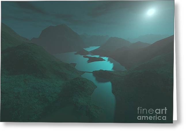 Moon Light At The Mountains Greeting Card by Gaspar Avila