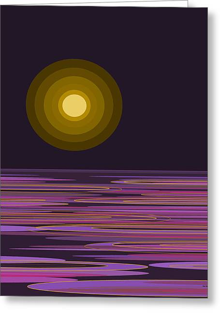 Moon Light Bay -  Purples Greeting Card by Val Arie