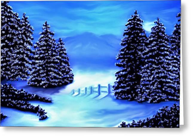 Moon Light Mountains Greeting Card by Debra Lynch