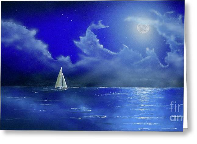 Greeting Card featuring the painting Moon Light Sail by Mary Scott