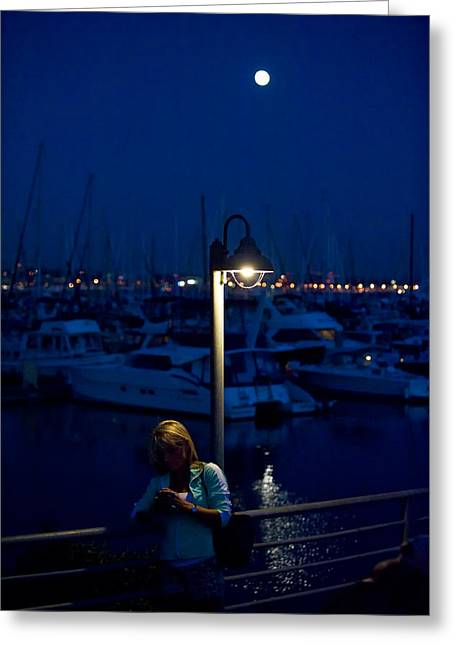 Moon Light Texting Greeting Card by Tom Dowd