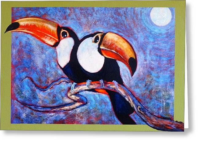 Moon Light Toucans Two Greeting Card by Charles Munn