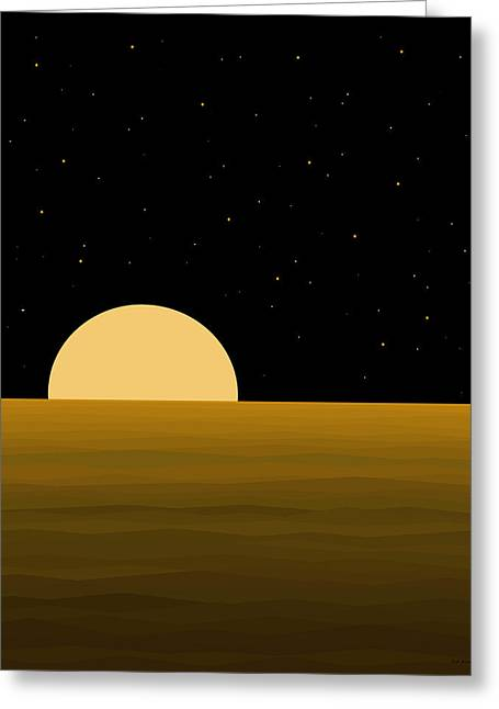 Moon Light Greeting Card by Val Arie